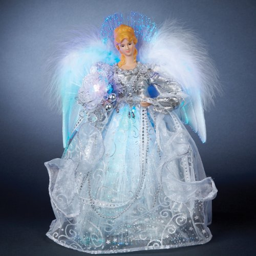 "12"" Silver Splendor LED Lighted Fiber Optic Elegant Angel Christmas Tree Topper"