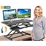 """Height Adjustable Standing Desk Converter Ergonomic Sit Stand Black Riser Large Table Top Size 37"""" inch Gas Spring Workstation Anti Fatigue up Down Position Dual Monitor Computer Shelf Home Office"""