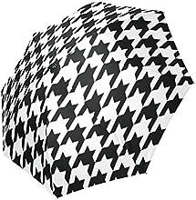 Fashionable Houndstooth Background Automatic Compact Travel Windproof Rainproof Umbrella