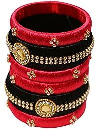 Kiranya Creations Black Plastic & Silk Thread Bangle Set For Women - Set Of 6 (Size: 2.4, KRC_17)