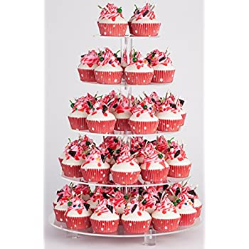 YestBuy 5 Tier Round Acrylic Cupcake Stand with Base