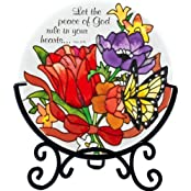 """Jewel Bouquet """" Let The Peace Of God Rule In Your Hearts"""" Stained Glass Tea Light Holder Hand Painted"""