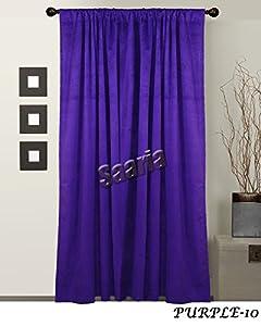 Saaria Purple Luxury Velvet Curtain Panel Theater Entertainment Media Window