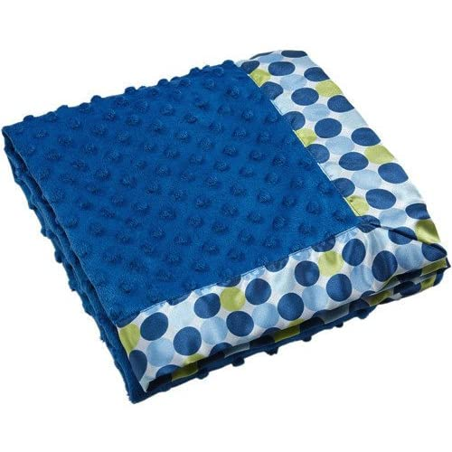 NOJO Simply Baby Bright Blue Minky Blanket With White & Green Satin