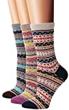 Flora Fred Womens 3 Pair Pack Vintage Style Cotton Crew Socks