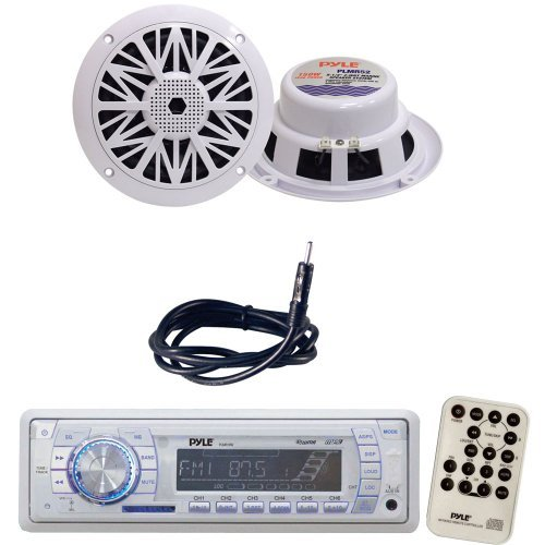 Pyle Marine Radio Receiver, Speaker and Cable Package - PLMR19W AM/FM-MPX PLL Tuning Radio w/SD/MMC Memory Card Slot w/USB & Weather Band - PLMR52 150 Watt 5.25'' 2 Way White Marine Water Resistant Speakers (Pair) - PLMRNT1 22