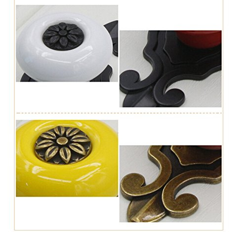 gloednApple 5 pcs Vintage Ceramic Knobs Pulls Handles for Cabinet Drawer Closet Dresser Cupboard Wardrobe Furniture Door Kitchen (Black-Bronze) 1