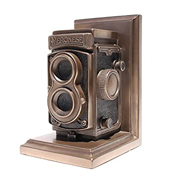 Vintage Camera Bookend, Single Bookend, Statue Cold Cast Bronze
