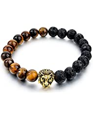 """Hot And Bold """"Natural Stones Edition"""" King Of The Jungle Charms Bracelet For Men / Women / Boys / Girls. Made..."""