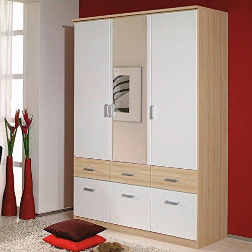 Kleiderschrank-beige-wei-3-Tren-B-136-cm-buche-natur-Schrank-Drehtrenschrank-Wscheschrank-Kinderzimmer-Jugendzimmer
