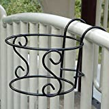 Auntwhale Flowerpot Racks 1pcs Hanging Flowerpot Balcony Racks Round S type flower Balcony stand Home Decor Ornaments (Color: black)