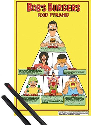 Poster + Sospensione : Bob's Burgers Poster Stampa (91x61 cm) Food Pyramid E Coppia Di Barre Porta Poster Nere 1art1®