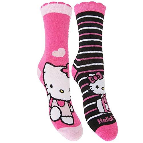 kinder-madchen-socken-mit-hello-kitty-motiven-2-paar-27-30-eu-pink-schwarz