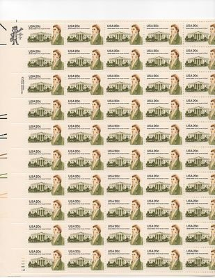 James Hoban Architect Sheet of 50 x 20 Cent US Postage Stamps NEW Scot 1936