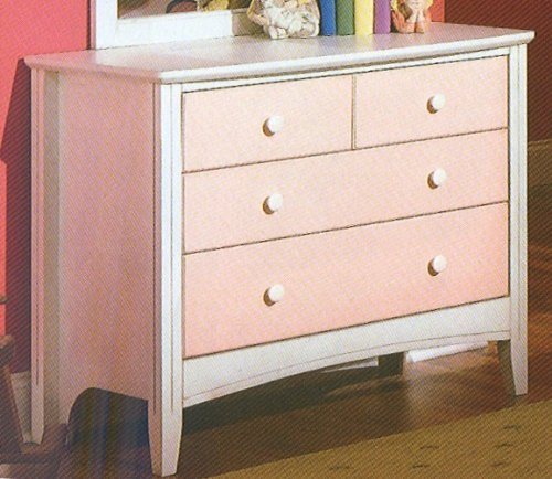 Cheap Kid's Antique White & Pink Storage Dresser (VF_HEB23-5S)