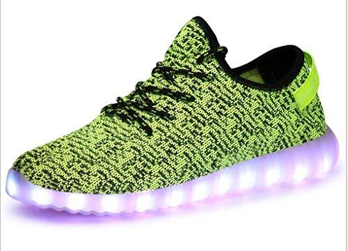 Littlepanda Women Men LED Shoes Luminous Flashing Sneakers Usb Charging Light up Casual Flat Shoes (US 6 woman/US 5 man/23CM/CN36, green)