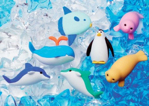 Authentic Iwako Erasers Marine Mammals Ocean Sea Life Animals Seal Whale Sun Fish Blue Green Dolphins Penguin - Cake Doll House Decorations