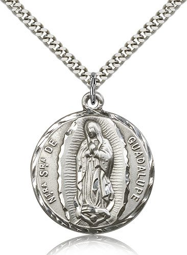 .925 Sterling Silver O/L Our Lady of Guadalupe Medal Pendant 1 1/4 x 1
