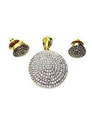 Poddar Jewels Cubic Zirconia Round Designer Pendant Set