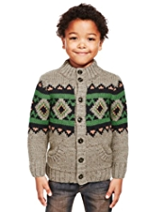 Funnel Neck Fair Isle Chunky Knit Cardigan with Wool