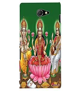 ColourCraft Lords Ganesha Maa Laxmi and Maa Saraswati Design Back Case Cover for SONY XPERIA M2 DUAL D2302