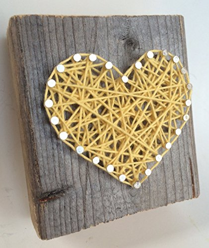 Rustic yellow string art heart block - A unique gift for Weddings, Anniversaries, Valentine's Day, Birthdays, Christmas, house warming and new babies.