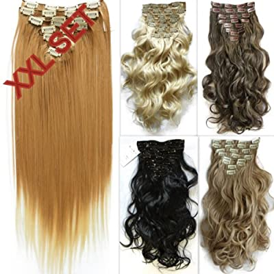 "PRETTYSHOP XXL Set 8 pcs 24"" Clip In Hair Extensions Full Head Hairpiece Wavy Curled Or Straight Heat-Resisting Div. Colors"