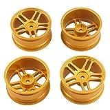 HOBBYPOWER  4pcs RC アルミ ホイールリム(金色)適用 HSP HPI 1/10 RC モデル オンロード カー タイヤ