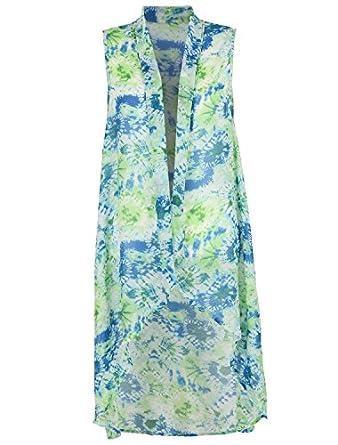 ililily Casual Sleeveless Printed Chiffon Suit Vest Drape Long Pattern Waistcoat (jackets-065-6)