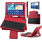 RED Removable Wireless Bluetooth Keyboard Case For Samsung Galaxy 10.1 Inch 10.1 Tab 3 P5200 P5210 P5213 + Stylus Pen