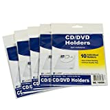 C-Line Self-Adhesive CD Holder, 5.33 X 5.66 Inches, Clear, 5 Packs of 10 Sheets, 50 Total (70568-5)