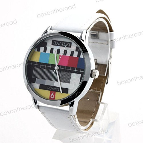 Super Bargain!!! New Model!! Unique Fashion Round Tv Test Wrist Quartz Analog White Leather Band Watch In Jewelry