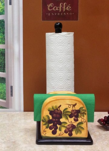 Paper Towel Holder And Napkin Holder Tuscany Grape Decor back-295156