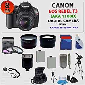 Canon EOS Rebel T3 (1100d) SLR Digital Camera w/ Canon 18-55mm Lens + 3 Extra Lens + Hdmi Cable + 8gb Sdhc Memory Card + Soft Carrying Cases + Tripod & Much More !!