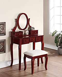 Ashley Wooden Makeup Vanity Table and Matching Upholstered Stool with Swivel Adjustable Mirror and 5 Storage Drawers