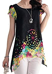 Fancy western wear and party wear Black printed Halterneck Maga sleeves Regular Fit top by H K Sales (Size-L)