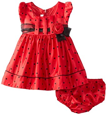 Bonnie Baby Baby-Girls Infant Dot Satin Dress with Sash, Red, 12 Months