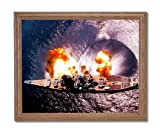 USS Missouri Battleship Firing Guns Naval Ship Military Wall Picture Oak Framed Art Print