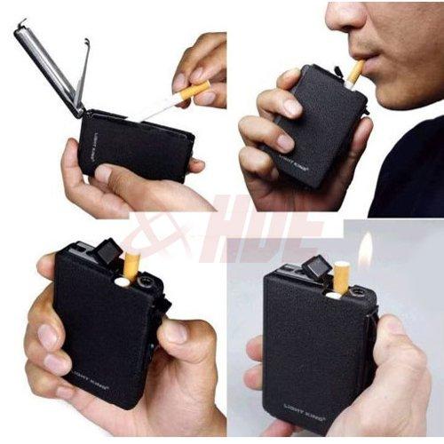 Automatic Ejection Butane Cigarette Lighter Case Box Holder Windproof Dispenser