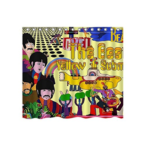 DIY Fashion Style THE BEATLES Yellow Submarine Waterproof Polyester Fabric Bathroom Shower Curtain 66