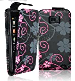 Gadget Giant SAMSUNG GALAXY S2 S II I9100 - Pink Grey Floral Flower PU Leather Flip Case / Cover / Pouch With FREE Screen Protector & Microfibre Cleaning Cloth