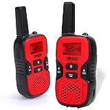 UOKOO Kids Walkie Talkies, 22 Channel FRS/GMRS 2 Way Radio 2 miles (up to 3.7 Miles) UHF Handheld Walkie Talkies for Kids (1 Pair) Red
