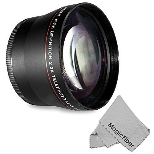 72MM 2.2x Altura Photo Professional Telephoto HD Lens for CANON (EF 35mm f/1.4L, EF 85mm f/1.2L II, EF 135mm f/2L), NIKON (85mm f/1.4, 18-200mm f/3.5 5.6G) Lenses + MagicFiber Microfiber Lens Cleaning