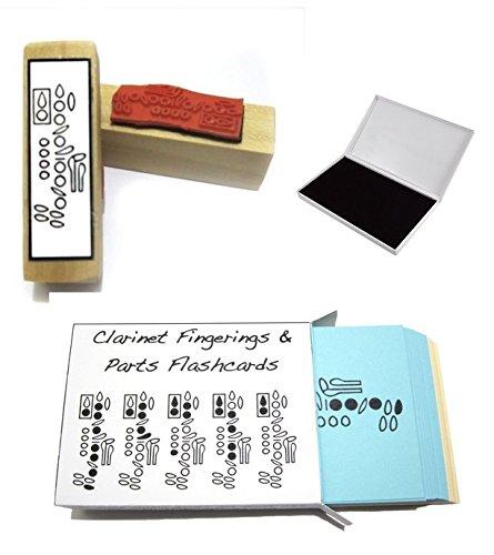Klarinette-Student-Geschenk-Pack-Karteikarten-Griffweise-Gummi-Stempel-Pad