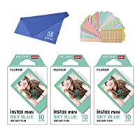 Fujifilm Instax Mini Instant Film SKY BLUE FRAME 3-PACK BUNDLE SET , Film SKY BLUE Frame ( 10 x 3 ) + Original Cleaning Cloth + Stickers 20 pcs. for Mini 90 8 70 7s 50s 25 300 Camera SP-1 Printer
