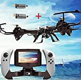 Creation® U818S grande 6-Axis giroscopio RC Quadcopter Drone color Negro con FPV cámara y control remoto en tiempo real FPV WIFI-818 (2 extra motors)
