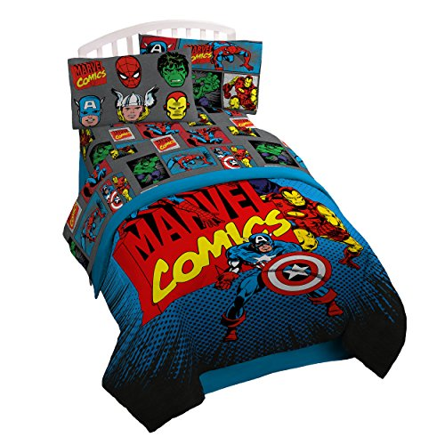 Marvel Superheroes Microfiber 3 Piece Twin Sheet Set (Captain America Trash Can compare prices)