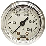 WIKA 50701720 Commercial Pressure Gauge, Liquid-Filled, Copper Alloy Wetted Parts, 1-1/2