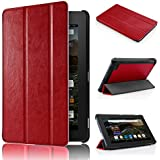 Amazon Fire 7 2015 Custodia - Swees Sottile Pieghevole Cover Case per Amazon Fire 7.0 pollici Display Tablet (5th generazione - modello 2015), Rosso