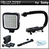 Deluxe LED Video Light + Video Stabilizer Kit For Sony HDR-CX110 High-Definition Handycam Camcorder Includes AXIS-G...